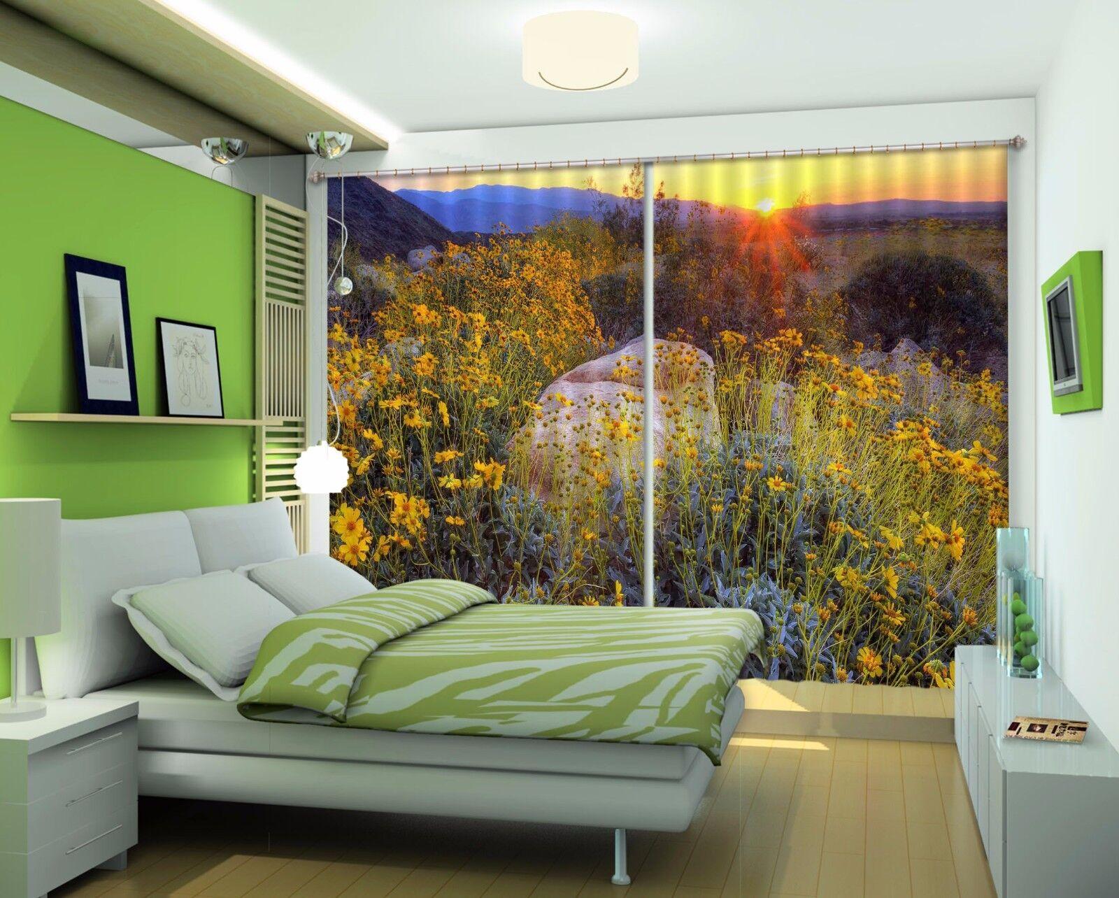 3D Flor puesta de sol 8 Cortinas de impresión de cortina de foto Blockout Tela Cortinas Ventana Reino Unido