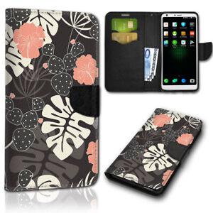 Smartphone-Flip-Handy-Tasche-New-128-Blatter-braun-weis-Schutzhulle