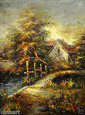 "Hand Painting Oil on Flat Canvas 36""x 48""(3' x 4') Braon Landscape House Dynamic"