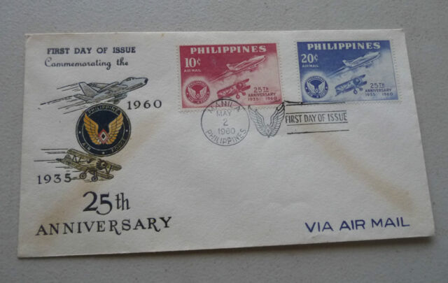 Fdc Philippines Manila Air Force 1935 1960 25th Anniversary W 2