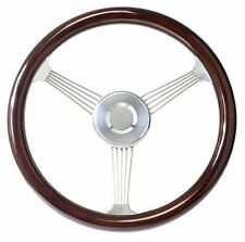 "15"" Dark Mahogany Banjo Steering Wheel with Stainless Steel Spokes for GMC Truck"