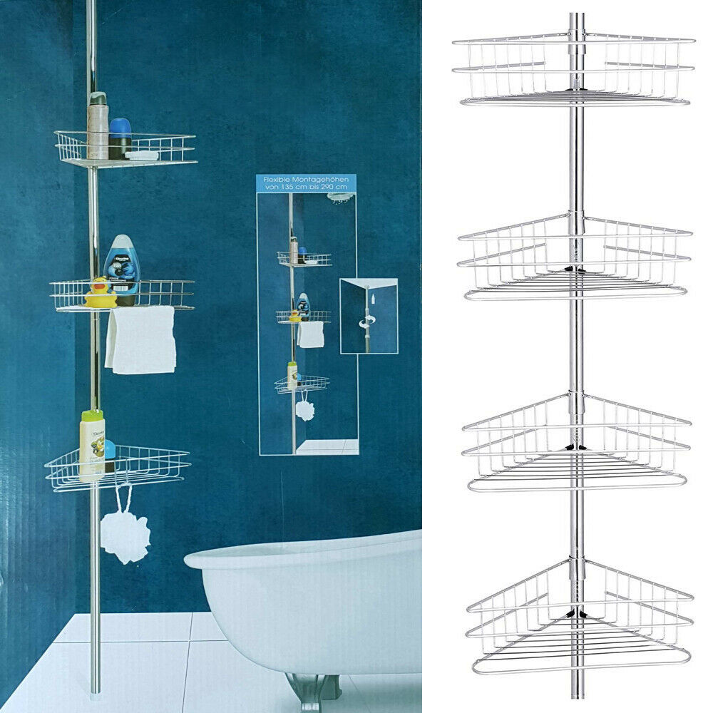 Diy 4 Tier Telescopic Bathroom Corner Shelf Rack Caddy Storage Shower Organiser Ebay