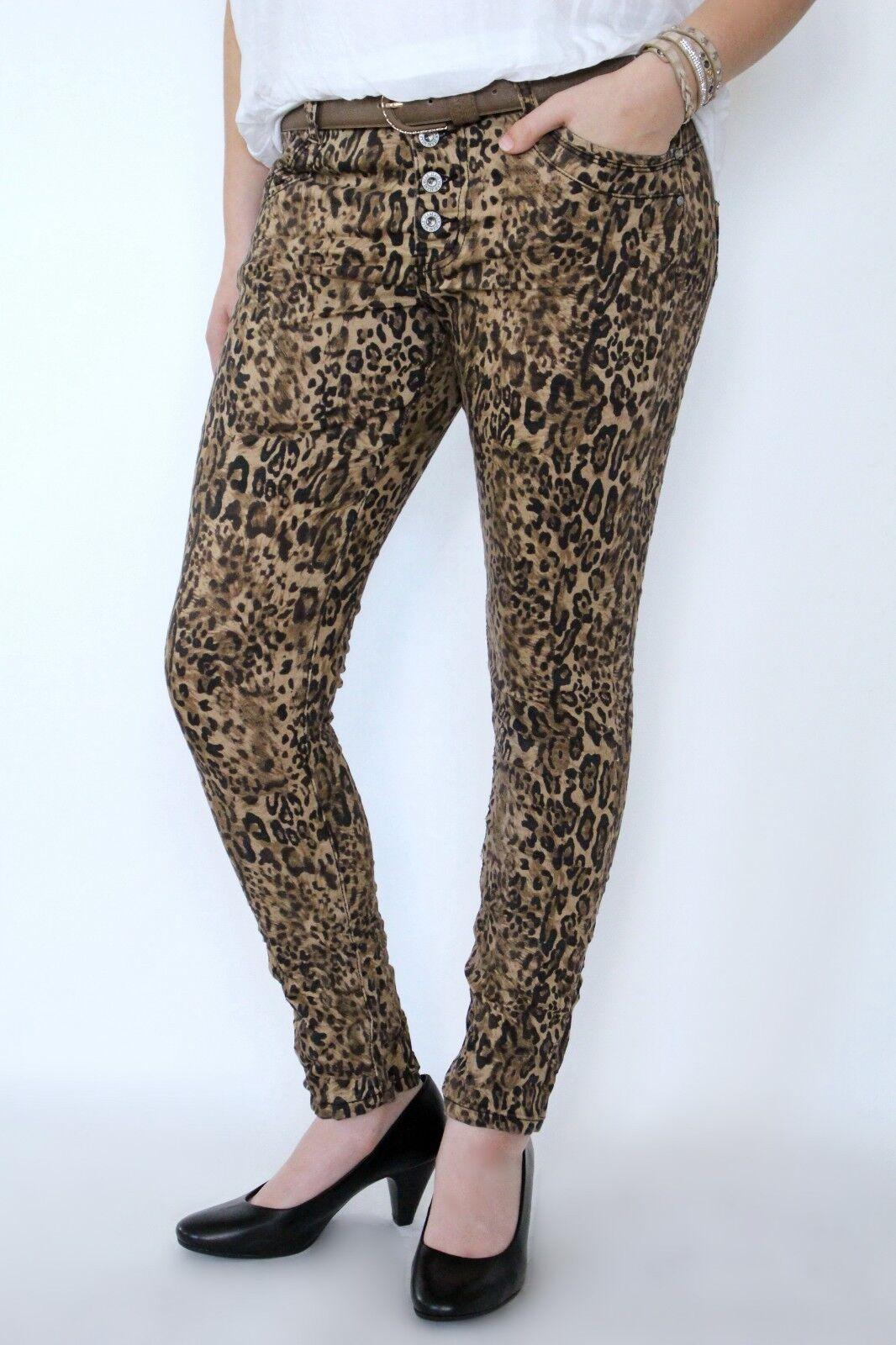 TRENDIGE JEWELLY   ANINMAL LEO PRINT Jeans HOSE BAGGY BOYFRIEND NEU BRAUN 34-42