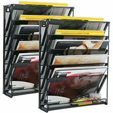 Wall File Organizer 5 Tier Mount Paper Holder Vertical Rack For Office 2 Pack
