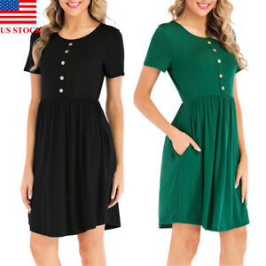 Women-039-s-Cotton-Short-Sleeve-Solid-Loose-Tunic-Top-Shirt-Blouse-Dress-With-Pocket