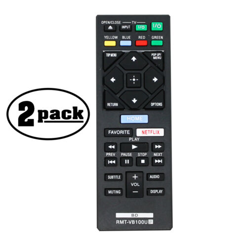 2-Pack Replacement Remote Control for Sony BDP S3500 Blu-ray Disc Player