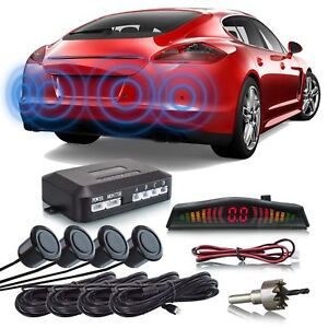 Einparkhilfe Rückfahrwarner Hinten 4 Kit Sensoren Led Anzeiger Schwarz Auto