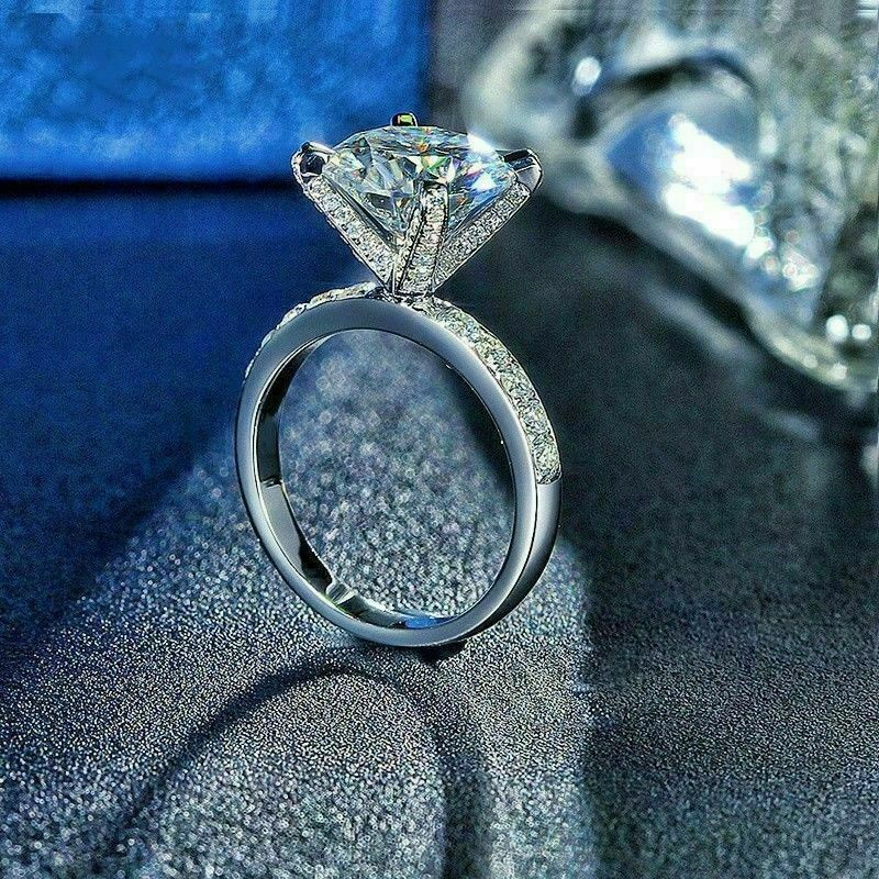 2.50 Ct Round-Cut Diamond Solitaire Engagement Ring 14k White Gold Over