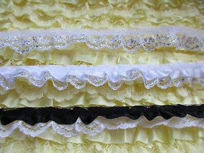 ruffle lace with satin =PRICE  FOR 1 YARD= select color// 3//4 inch wide