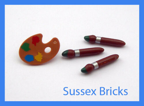 1x chevalet palette 3x pinceau-ville artiste figurine ustensile-neuf Lego
