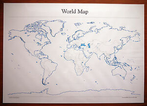 A2 full sized dry wipe laminated blank world wall map approx 594mm image is loading a2 full sized dry wipe laminated blank world gumiabroncs Image collections