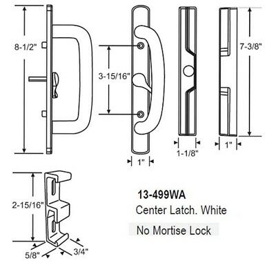 Perfect Fitting 2 Handle White Replace Patio Door Handle Set Mortise Lock 45°
