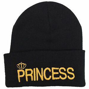 b592e46a Details about Princess Embroidered Beanie - His & Hers Couple Prince  Hipster Fashion Wooly Hat