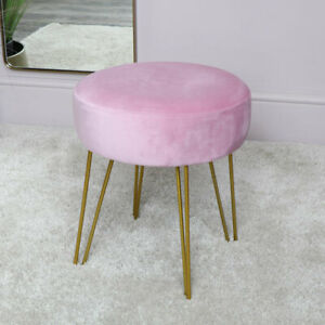 Stupendous Details About Pink Velvet Stool With Gold Hairpin Legs Bedroom Luxury Seating Dressing Table Cjindustries Chair Design For Home Cjindustriesco