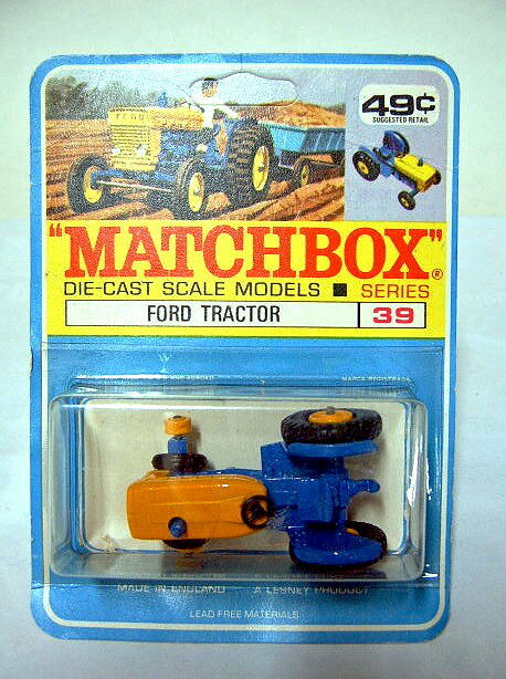 Matchbox 39c Ford Tractor bluee & Yellow Rare Canadian High School Blister