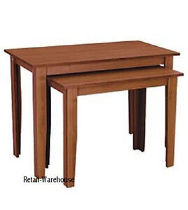 Image Is Loading Nesting Tables Set Of 2 Cherry Finish Retail