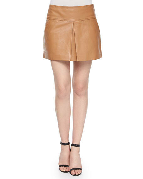 T by Alexander Wang Lambskin Leather Center-Pleated Mini Skirt Size 4  750.00
