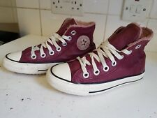 cf148899d799 Converse SIZE UK 3 EU 35 Womens Fur Leather Burgundy All Star TRAINERS SHOES