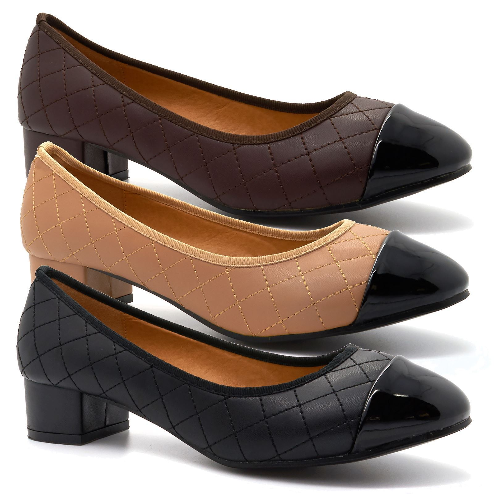 New Womens Ladies Low Mid Kitten Heel Work Pumps Size Court Shoes Large Sizes