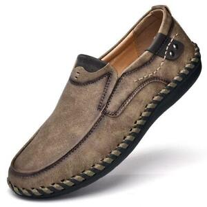 Hot-Mens-Retro-Round-toe-Slip-On-Loafers-Comfy-Driving-Flats-Casual-Shoes
