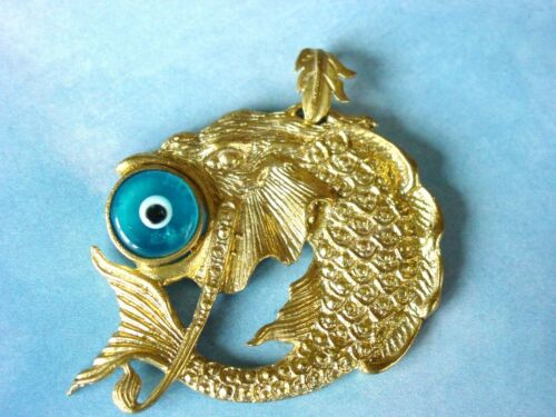 GOLD PLATED MURANO GLASS EVIL EYE DRAGON FISH LUCKY  MEN WOMEN PENDANT NECKLACE