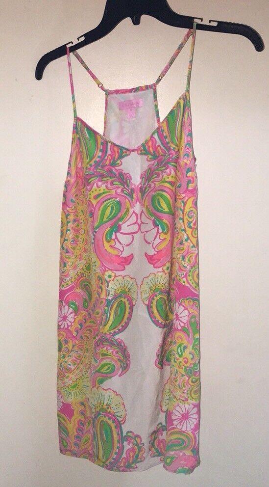 Lilly Pulitzer Hotty Rosa Double Trouble Dusk Silk Dress Größe XS Euc