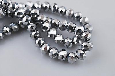 70pcs 5x8mm Silver Crystal Gemstone Loose Bead