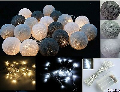 LED Battery Operated Mix Gray 20 Cotton Ball String fairy lights home decor