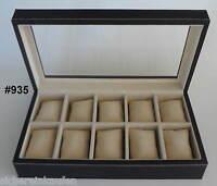 Hochwertige Sammler-box, Uhrenbox M. Fenster Für 10 Große Armbanduhren 935-10