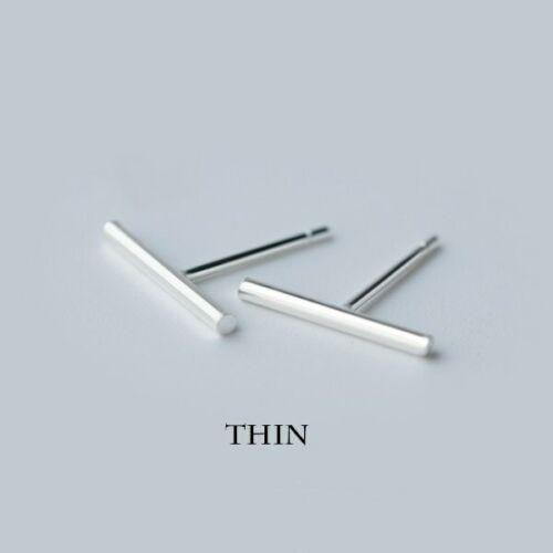 Silver Bar Earrings Thin 925 Sterling Tiny Round Line Stud Earrings Minimalist