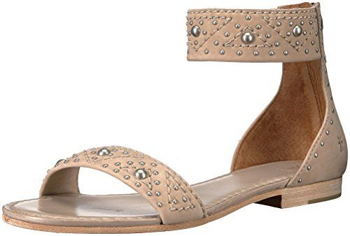 c69a623fb6a Frye Womens Carson Deco Zip Flat Sandal PEEP Toe Taupe Size 6.5 M US ...