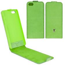 Apple iPhone 5,5S,5 SE Flip Nubuk Tasche Schutzhülle Case grün Hülle