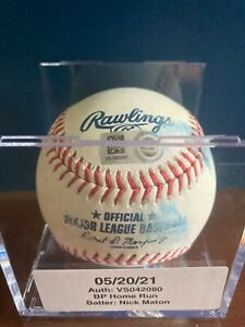 Nick Maton game used BP Batting Practice Home Run Baseball Phillies MLB Hologram