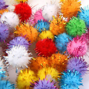 100Pc-Sparkly-Glitter-Tinsel-Pompom-Balls-Small-Pom-Ball-Pet-Cat-Toys-Fun-Lovely