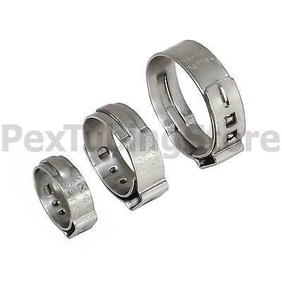 """(100) 1/2"""" PEX Stainless Steel Cinch Clamps SSC by Oetiker Made in USA, NSF/ASTM"""