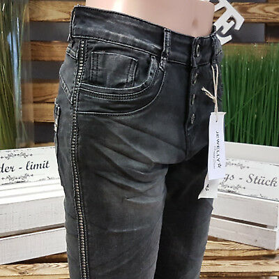 JEWELLY  BAGGY JEANS NIETENSTREIFEN TOP  GR.XS-XL BLACK STYLE JW5059-1 //020