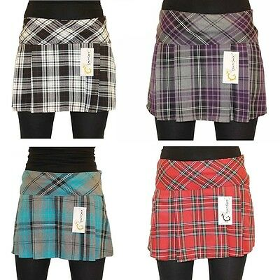 Length 14 Inch Sizes 8-18 Short Mini Tartan Pleated Box Pleat Skirt