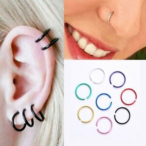40PCS 316L STAINLESS STEEL OPEN CIRCLE NOSE RING LIP EAR BODY PIERCING JEWELRY S