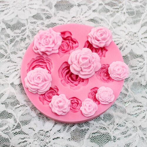 3D ROSE FLOWER Silicone Fondant Cake Mold Plant Leaf Chocolate Baking DIY Mould