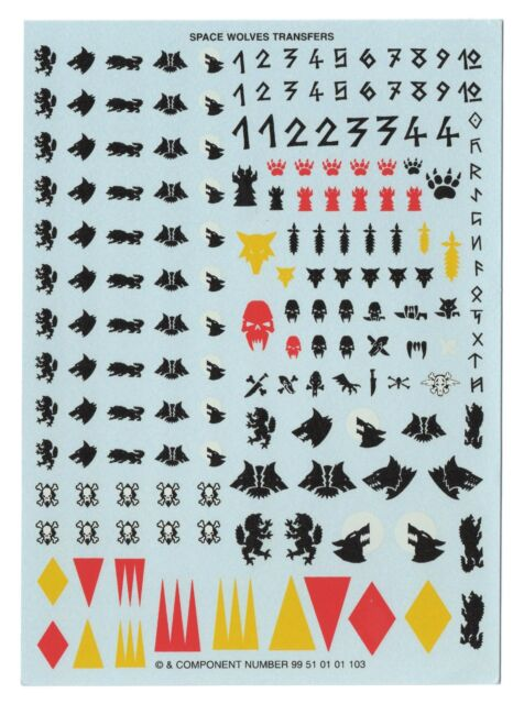 Space Wolves Marines Transfer Sheets X5 Transfers Decals Warhammer 40k