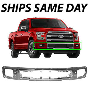 NEW Chrome - Steel Front Bumper Face Bar for 2015-2017 Ford F150 Pickup w/ Fog