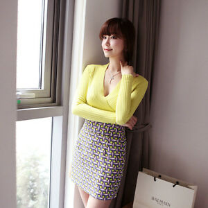 1-Piece-New-Spring-Women-039-s-Slim-Deep-V-Neck-Sweater-Party-and-Club-Outwear