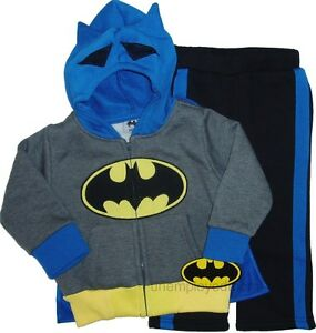 HOODIE JACKET CAPE PANTS SET BOYS BATMAN 2 PC OUTFIT KIDS SWEATS LITTLE LONG