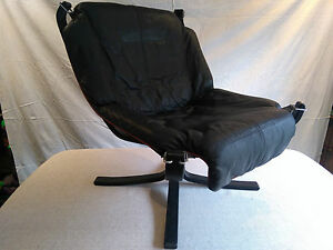 Image Is Loading Black Leather Falcon Chair By Sigurd Res For
