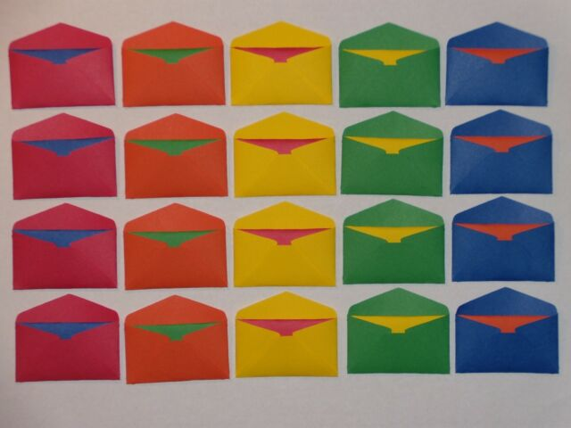 20 Primary Mini Envelopes And Matching Color Fold Up Cards