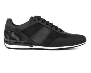 cad23f84d8 Hugo Boss Saturn Lowp Act3 50401836 001 Mens Trainers Black Sneakers ...