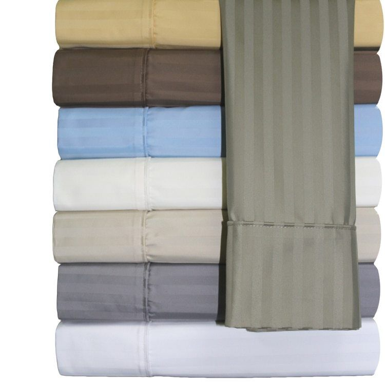 Sophisticated 650 Thread Count Damask Striped Cotton Bed Sheets Set