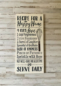 Recipe For A Happy Home Wood Sign Kitchen Decor Food Pun Sign