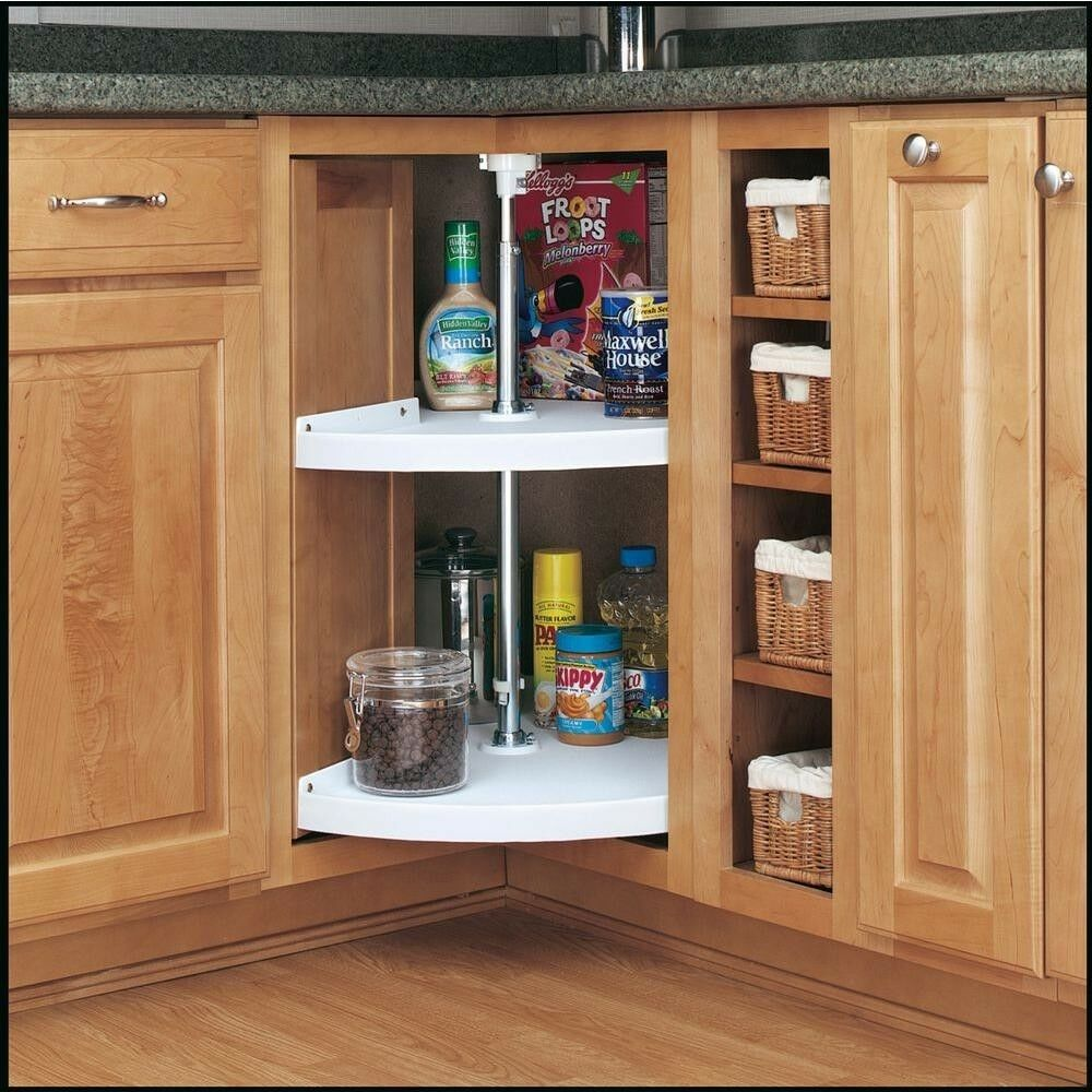 2-Shelf Pie-Cut Lazy Susan 24 in. Polymer redating Kitchen Cabinet Storage White