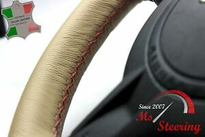 FOR LEXUS GX 11-13 BEIGE LEATHER STEERING WHEEL COVER RED STIT